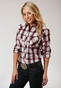 WOMENS TAN CREAM BLACK AND WINE PLAID LONG SLEEVE SNAP WESTERN SHIRT