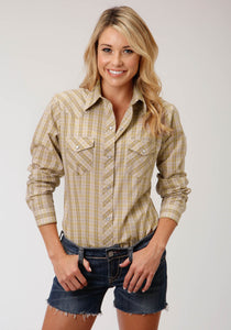 WOMENS TAN WHITE AND BLUE PLAID LONG SLEEVE SNAP WESTERN SHIRT