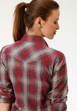 WOMENS RED BLUE AND TAN PLAID LONG SLEEVE SNAP WESTERN SHIRT