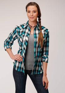 WOMENS TEAL BLACKWHITE AND GREY PLAID LONG SLEEVE SNAP WESTERN SHIRT