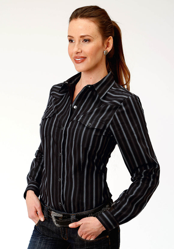 WOMENS BLACK AND GREY STRIPE LONG SLEEVE SNAP WESTERN SHIRT