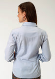 WOMENS BLUE SQUARE TONE ON TONE LONG SLEEVE SNAP WESTERN SHIRT