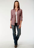 WOMENS WINE CROSSHATCH  TONE ON TONE LONG SLEEVE SNAP WESTERN SHIRT