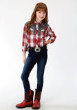 GIRLS RED WHITE AND GREY PLAID LONG SLEEVE SNAP WESTERN SHIRT