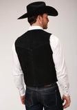 MENS BLACK SUEDE LEATHER VEST WITH FRONT YOKES BIG MAN FIT