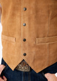 MENS SAND SUEDE LEATHER VEST BIG MAN FIT