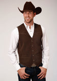 MENS BROWN SUEDE LEATHER VEST WITH BUCKLE TIE BIG MAN FIT