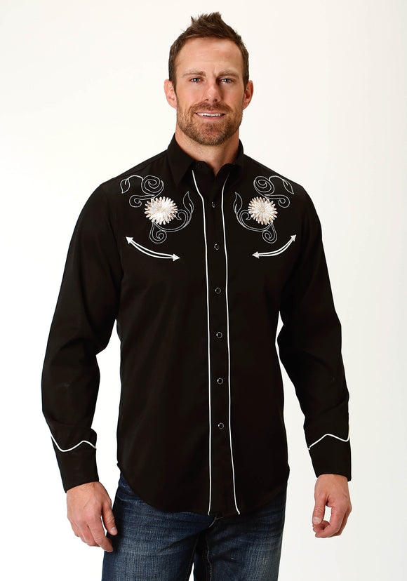 MENS BLACK EMBROIDERED LONG SLEEVE WESTERN SNAP SHIRT