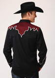 MENS BLACK WITH CONTRASTING YOKES AND PIPING LONG SLEEVE SNAP WESTERN SHIRT
