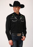 MENS BLACKWITH CACTUS EMBROIDERED FRONT AND BACK YOKES LONG SLEEVE SNAP WESTERN SHIRT