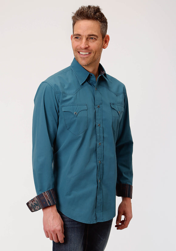 MENS TEAL SOLID LONG SLEEVE WESTERN SNAP SHIRT