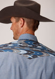 MENS BLUE SOLID CHAMBRAY WITH CONTRAST YOKES LONG SLEEVE SNAP WESTERN SHIRT