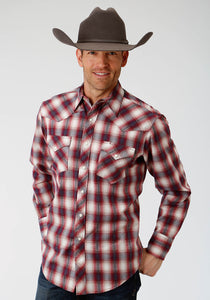 MENS RED AND WHITE PLAID LONG SLEEVE WESTERN SNAP SHIRT