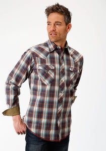 MENS RED WHITE AND BLUE PLAID LONG SLEEVE WESTERN SNAP SHIRT