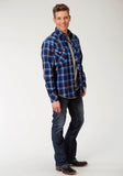 MENS BLUE WHITE AND TAN PLAID LONG SLEEVE WESTERN SNAP SHIRT