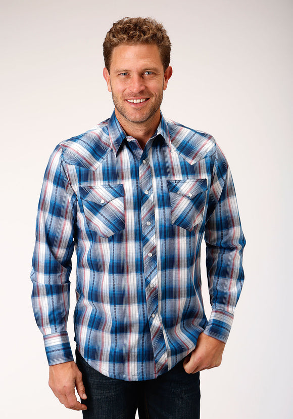 MENS BLUE WHITE AND RED PLAID LONG SLEEVE SNAP WESTERN SHIRT