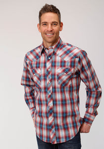 MENS BLUE RED AND WHITE PLAID LONG SLEEVE WESTERN SNAP SHIRT