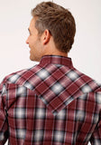 MENS RED WHITE AND BLACK PLAID LONG SLEEVE WESTERN SNAP SHIRT