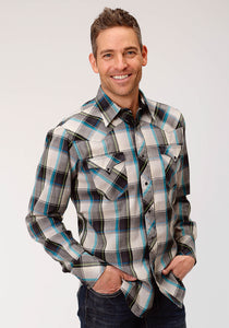 MENS GREY WHITE AND TURQUOISE PLAID LONG SLEEVE WESTERN SNAP SHIRT