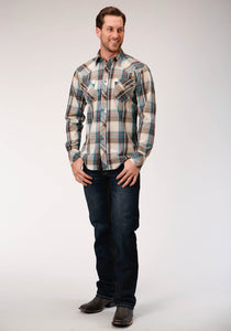 MENS TAN BLUE RED AND WHITE PLAID LONG SLEEVE SNAP WESTERN SHIRT