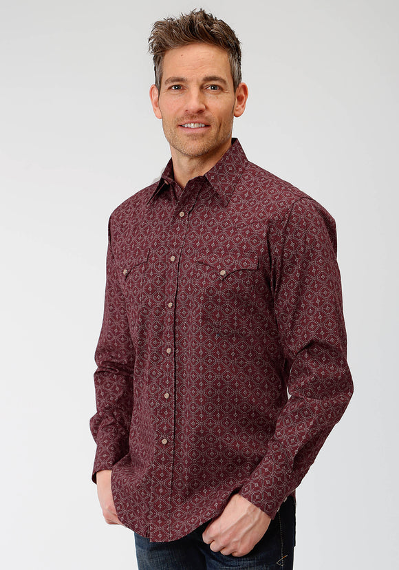 MENS RED LATTICE SHADOW PRINT LONG SLEEVE SNAP WESTERN SHIRT