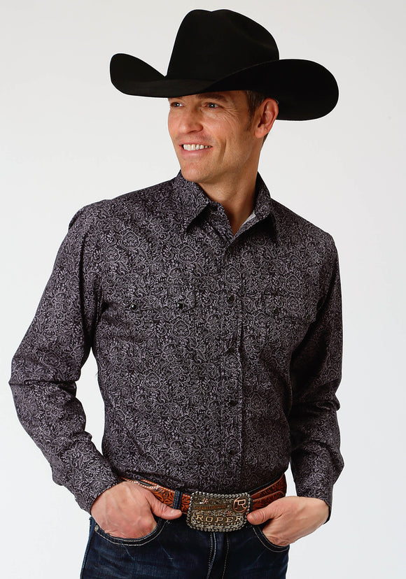 MENS BLACK PAISLEY PRINT LONG SLEEVE WESTERN SNAP SHIRT
