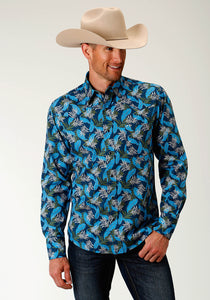 MENS BLUE TROPICS PRINT LONG SLEEVE WESTERN LONG SLEEVE SNAP SHIRT