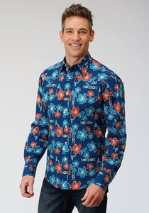 MENS BLUE GROUND MULTICOLORED TROPICAL PRINT LONG SLEEVE SNAP WESTERN SHIRT