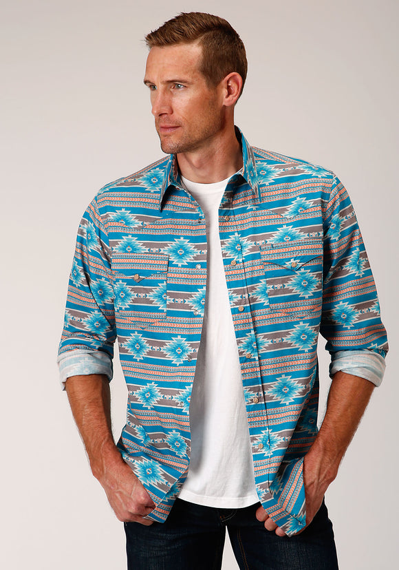 MENS BLUE ORANGE AND WHITE SANTA FE AZTEC PRINT LONG SLEEVE SNAP WESTERN SHIRT
