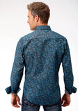 MENS BLUE AND BLACK PAISLEY PRINT LONG SLEEVE WESTERN SNAP SHIRT