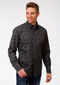 MENS GREY BLANKET PRINT LONG SLEEVE WESTERN SNAP SHIRT