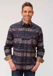 MENS MULTICOLORED CLOUDY SUNSET PRINT LONG SLEEVE WESTERN SNAP SHIRT