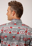 MENS RED AND GRAY AZTEC WEAVING PRINT LONG SLEEVE SNAP WESTERN SHIRT