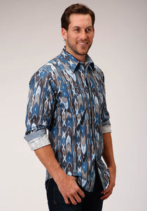 MENS BLUE GROUND MULTICOLORED AZTEC PRINT LONG SLEEVE SNAP WESTERN SHIRT