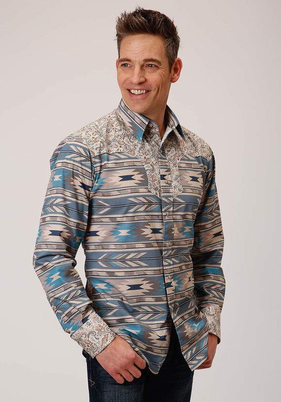 MENS TURQUOISE TAN AND BLUE AZTEC PRINT LONG SLEEVE SNAP WESTERN SHIRT