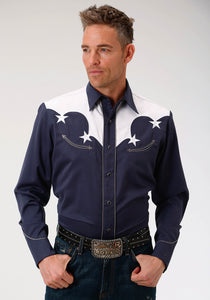 MENS BLUE WITH WHITE YOKES AND STARS LONG SLEEVE WESTERN SNAP SHIRT