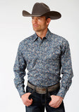MENS BLUE PAISLEY PRINT LONG SLEEVE WESTERN SNAP SHIRT
