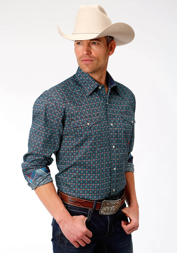 MENS BLUE FOULARD PRINT LONG SLEEVE WESTERN SNAP SHIRT
