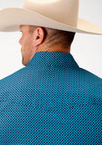MENS BLUE GEO PRINT LONG SLEEVE WESTERN SNAP SHIRT