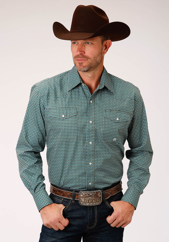 MENS GREEN AND WHITE GEO PRINT LONG SLEEVE SNAP WESTERN SHIRT