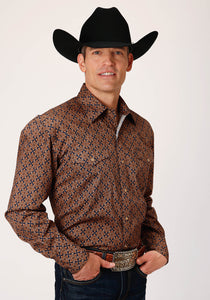 MENS BROWN AND BLUE DIAMOND MEDALLION PRINT LONG SLEEVE SNAP WESTERN SHIRT