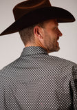 MENS GRAY AND WHITE GEO PRINT LONG SLEEVE SNAP WESTERN SHIRT