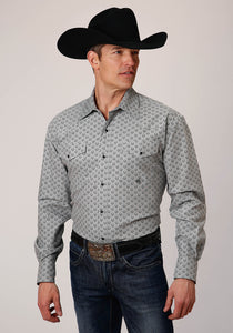 MENS GRAY AND BLACK HORSESHOE PRINT STRETCH OXFORD LONG SLEEVE SNAP WESTERN SHIRT