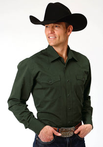 MENS GREEN SOLID LONG SLEEVE WESTERN SNAP SHIRT