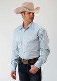 MENS BLUE SOLID LONG SLEEVE WESTERN SNAP SHIRT