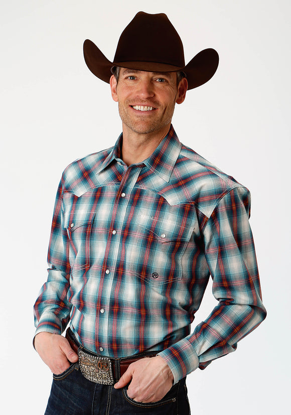 MENS BLUE ORANGE AND WHITE PLAID LONG SLEEVE WESTERN SNAP SHIRT