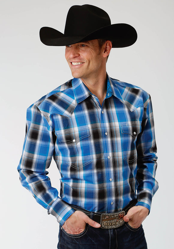 MENS BLUE AND BLACK PLAID LONG SLEEVE WESTERN SNAP SHIRT