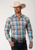 MENS BROWN BLUE AND WHITE PLAID LONG SLEEVE SNAP WESTERN SHIRT