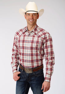 MENS RED WHITE AND BLUE PLAID LONG SLEEVE SNAP WESTERN SHIRT