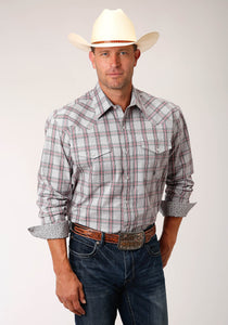 MENS GRAY RED AND BLACK PLAID LONG SLEEVE SNAP WESTERN SHIRT